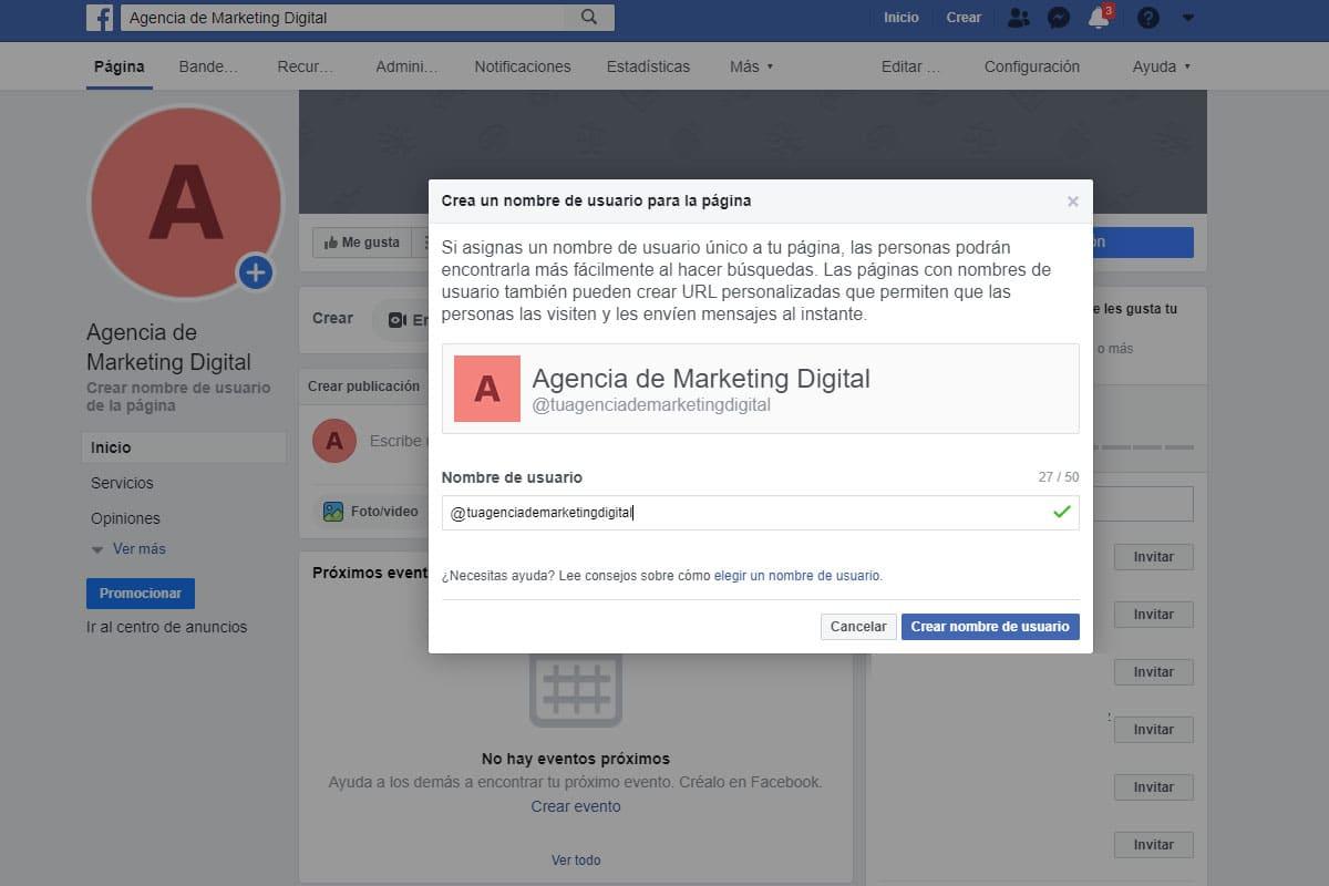 Paso 6 para crear una pagina para empresas en Facebook