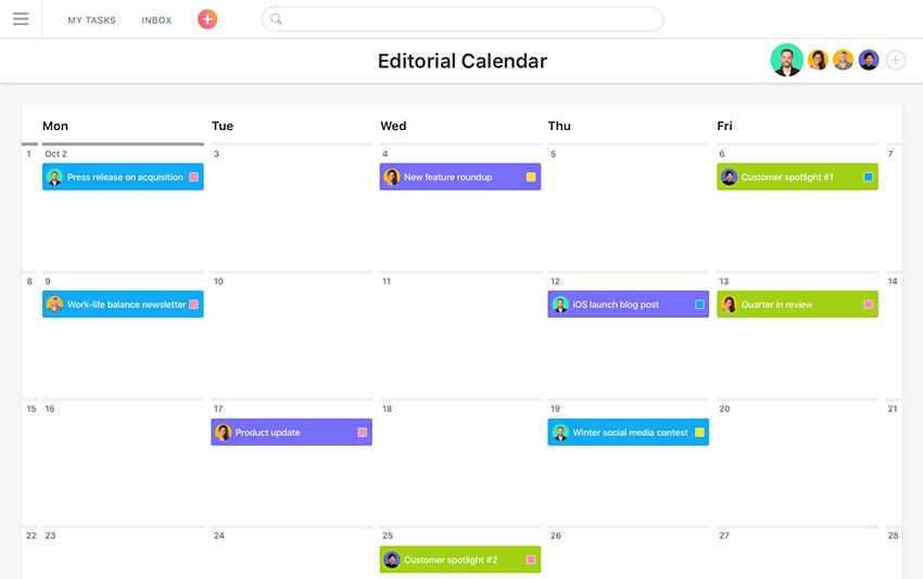 Calendario organizador de tareas