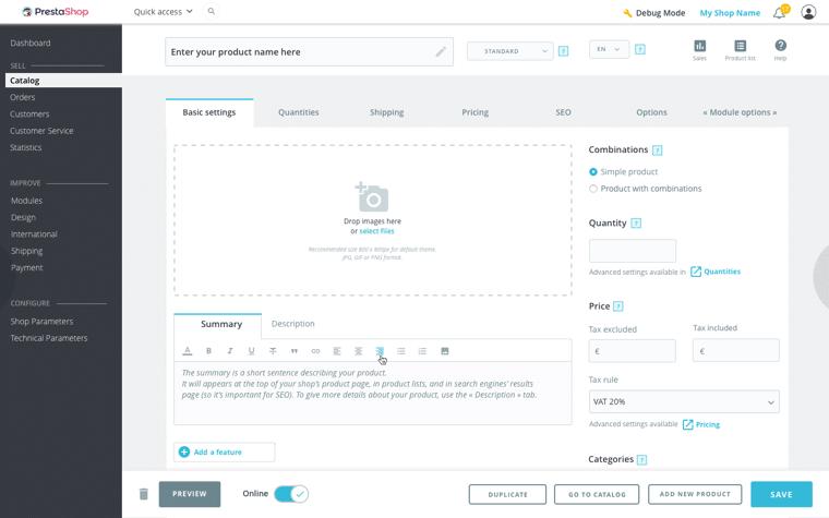 Crear un nuevo producto en PrestaShop