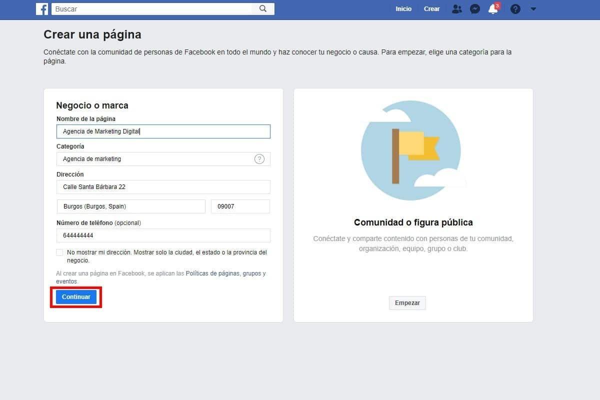 Paso 3 para crear una pagina para empresas en Facebook