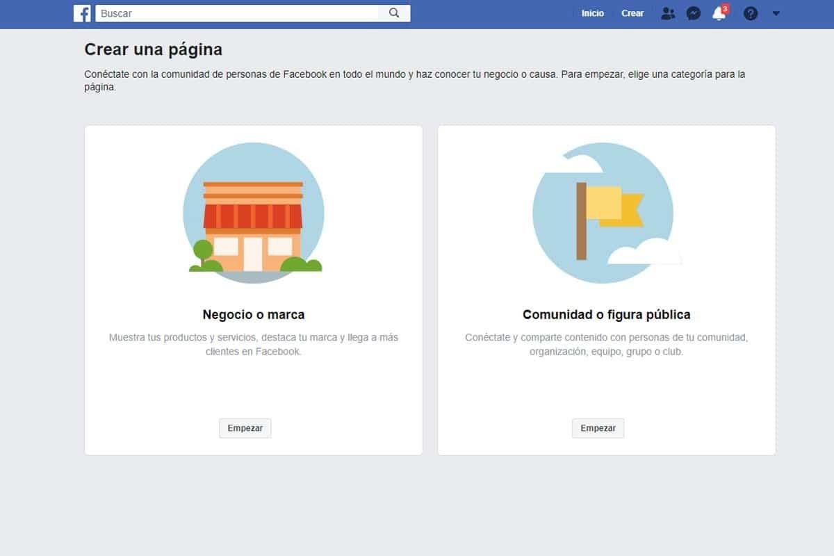 Paso 2 para crear una pagina para empresas en Facebook